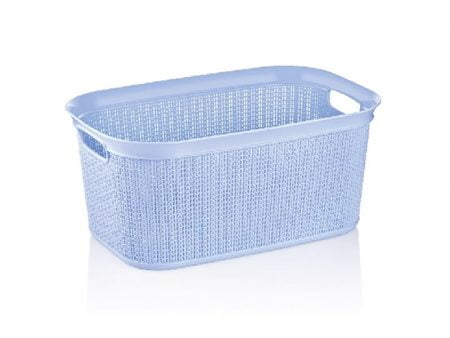 M-080 PLASTIC BASKET WITH KNIT DESIGN (56,6 X 36,6 X 25,5 CM) - 38 LT