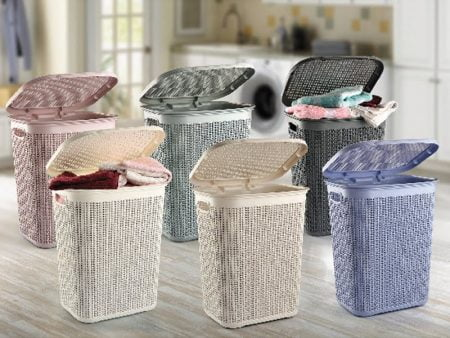 M-079 PLASTIC LAUNDRY BASKET WITH KNIT DESIGN (43 X 34 X 55 CM) - 50 LT