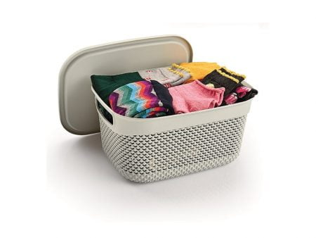 M-1163-DROP DESIGN BASKET WITH LID (29 x 21,5 x 15 CM )-6,6 L