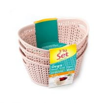 M-3927 OVAL KNIT DESIGN BASKET - 3 PCS SET WITH SLEEVE LABEL (20 x 16 x 10,5 CM ) 1,5 L